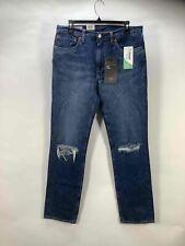 NWT Levi's Dark Blue Mid Rise Torn Slim Leg Cotton Jeans Size 32