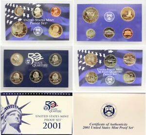 United States 10 Coin Proof Set US Mint & COA 10 Coins