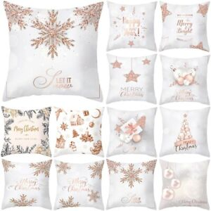 """18"""" Pink Gold Christmas Xmas Cushion Cover Square Throw Pillow Cases Home Decor"""
