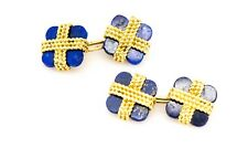 18K Van Cleef Arpels Cuff Links Lapis Lazuli Yellow Gold
