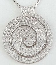 1.75 ct 14K White Gold Round Cut Diamond Circle Pendant / Necklace 5.4 Grams