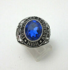 SILVER TONE FOX VALLEY LUTHERAN HIGH CLASS 1992 RING W/ BLUE STONE *
