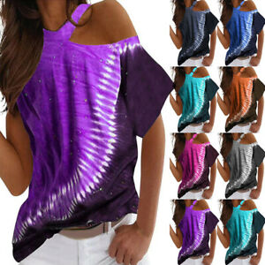 Womens Tie Dye Short Sleeve One Shoulder T-shirts Summer Casual Loose Blouses