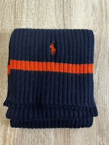 Polo Ralph Lauren Ribbed Navy And Orange Cotton Lambswool Blend Scarf