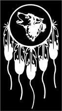 WHITE Vinyl Decal Dream Catcher Wolf Head side Native American sticker