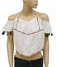 141866 NEW Free People Embroidered Tassel Off Shoulder Ivory Cotton Blouse Top S