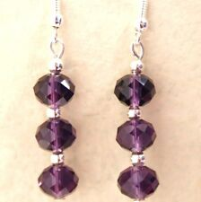 New Pair Purple Crystal Earrings with Sterling Silver Hooks Drop Dangly LB9