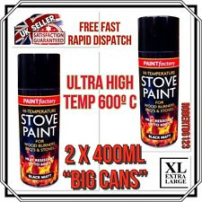 "2 X ""BIG CAN 400ml"" High Temperature Spray Paint Stove Fire BBQ Exhausts *NEW*"