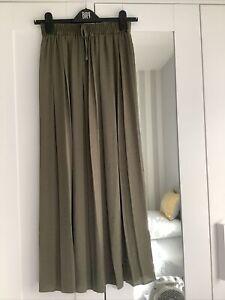 Khaki Pleated Maxi  Skirt Size 8 BN