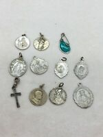 Lot of 11 Catholic vintage Or Antique medallion pendants / Charms / Rosary Parts
