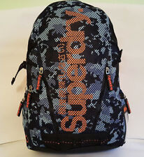 SUPERDRY 2018 CAMO Mesh MP3 Backpack Black Blue LAPTOP School GYM Rucksack SALE!
