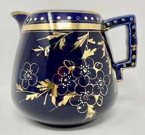 REITI Pitcher, New England Pottery, 1888 Cobalt Hand Painted Gold Floral Design