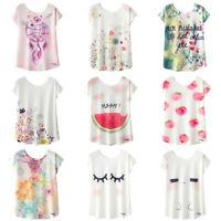 Women Summer Tees Blouse Kawaii Cute Printed T-shirt Loose Short Sleeve Tops L
