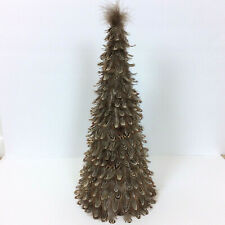 """Brown & White Full Feather Cone Christmas Tree 18"""" H House Decoration Cabin"""