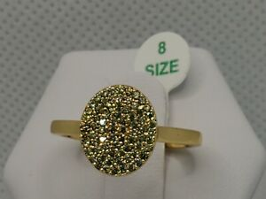 RBP 3348 Ring Bomb Party Pave Peridot on 12K Gold Plated Size 8 New w/Bag & Tag!