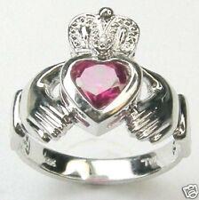 DIAMOND CLADDAGH CR RUBY RING 14K WHITE GOLD