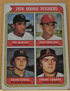1974 Topps Baseball Rookie Pitchers Frank Tanana Vic Albury Kevin Kobel #605