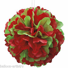 "14"" Christmas Party Classic RED GREEN Paper Puff Ball Decoration"