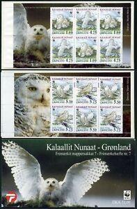Greenland 347A booklet,MNH.Michel 331-334,NH. WWF-99.Nyctea scandiaca snowy owl