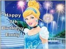 Disney Princess Cinderella Personalised Cake Topper Edible Wafer Paper A4