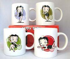 SET OF 4 WHITE VINTAGE BETTY BOOP 16 FL OZ COFFEE,TEA CUP,MUG