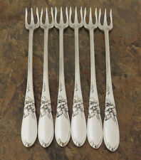 Oneida White Orchid Set of 6 Cocktail Forks Community Silverplate Flatware Lot S