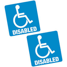 "2 x disabled blue badge 6"" 150mm sq. vinyle autocollant voiture van home motability decal"