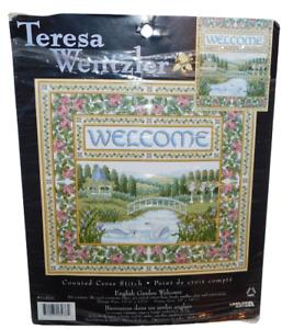 Teresa Wentzler 'English Garden Welcome' Counted Cross Stitch New but opened