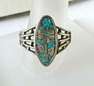 Vintage Artisan Sterling Silver Flower Ring Turquoise Chips 4.9 Grams Size 8.5