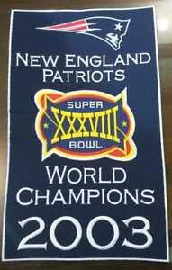 New England Patriots Super Bowl XXXVIII 38 2003 World Champions 14 x 8.5 Banner