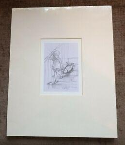 Winnie the Pooh & Christopher Robin Mounted Pencil Sketch Print E.H.Shepard