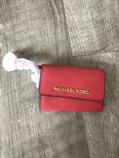 Michael Kors Jet Set Travel Small Leather Top Zip Coin Pouch With ID Watermelon