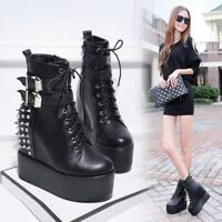 Women Creepers Platform Rounded Toe Lace Up Ankle Boots Rivet Punk Shoes ZHOU8
