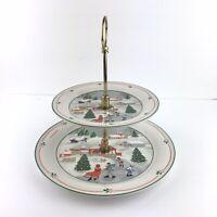 Vintage SANGO China SILENT NIGHT 2 Tier Serving Tray Platter Holiday/Joan Luntz