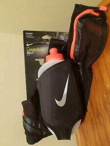 Nike Large Flask Running Belt - Black / High Vis Orange - w/ 20 oz Water Bottle
