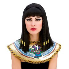 Peluca Damas Mujeres Reina Cleopatra Egipcio Fancy Dress Black Gold Trenzado Cabello BD