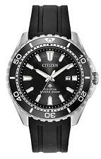 Mens Citizen Eco-Drive Promaster Black Rubber Dial Divers Watch Date BN0190-07E