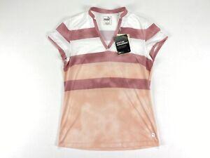 Women's PUMA Dye Stripe Golf Polo Shirt Peachskin Pink White SZ S ( 597702 01 )