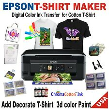 EPSON PRINTER TRANSFER T-SHIRT MAKE COTTON BULK INK + START-UP KIT 3D PAINT