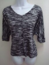 top blouse 1X plus size womens casual cynthia rowley black white print