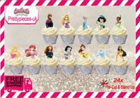 Disney Princess Halfs 24x Stand-Up Pre-Cut Wafer Paper Cup cake Toppers