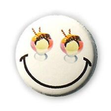 Button Pin Badge Strawberry Vanilla Ice cup eyes EMOTICON kawaii - 1inch Ø25mm
