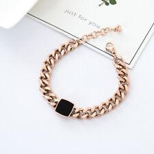 NEW Fashion 18K Rose Gold Filled Solid 10MM Curb Chain Charm Bracelet Men Women