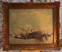 J. H. PETERS Ölgemälde Hafen Hamburg? gelistet