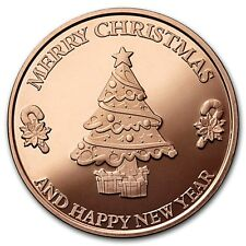 Merry Christmas 1 oz .999 Copper Round USA Made Holiday Season Bullion Coin