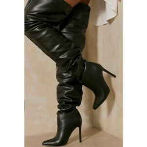 35/43 Women 11.5CM High Heel Pointy Toe Stilettos Knee High Slouch Boots Party L