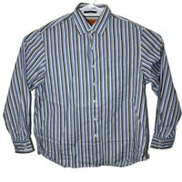 Tommy Bahama Mens XL Brown Blue Long Sleeve Striped Button Up Casual Dress Shirt
