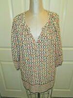 CYNTHIA ROWLEY CORAL PRINT PEASANT 3/4 SLV PEASANT TOP 1X EXCLNT! ALL RAYON FABR