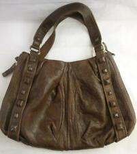 Junior Drake Chocolate Brown Studed Leather Handbag Purse XL Retail $400 Italian
