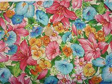 Quilting Fabric Pink Lilies Iris Pansies flowers white BG FQS 100% Cotton   pif8